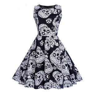 Rockabilly Midi Dress for Halloween and Xmas