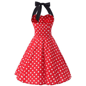 1960s Halter Design Red Rockabilly Swing Retro Vintage Dress
