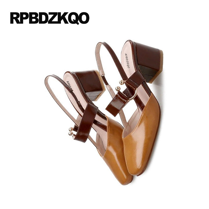 Slingback Vintage Strap Brown Pump