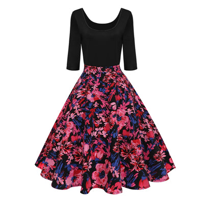 Half Sleeve Black Plum Flower Vintage Dress