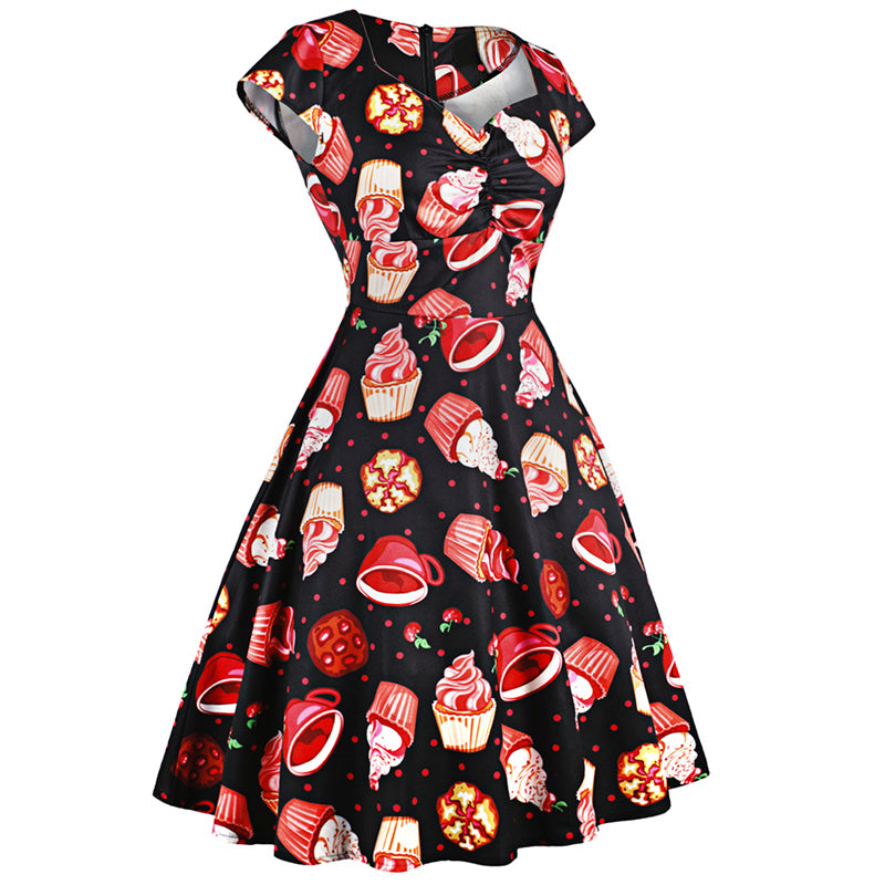 1950s Pinup Vintage Style Rockabilly Cake Print Party Dress