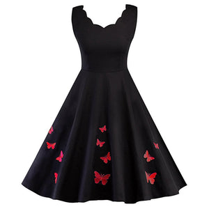 V Neck Butterfly Embroidery Dress