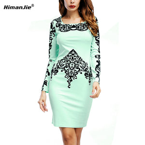 Himanjie Womens Elegant Vintage Rockabilly Spring Floral Flower Print Pinup Square Neck Party Clubwear Sheath Bodycon Dresses