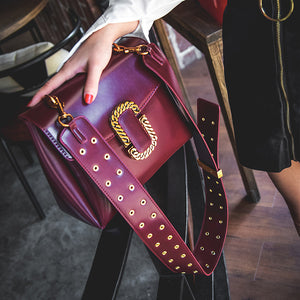 Hot new style design fashion Punk style  good quality strap shoulder bag ladies messenger bag 677