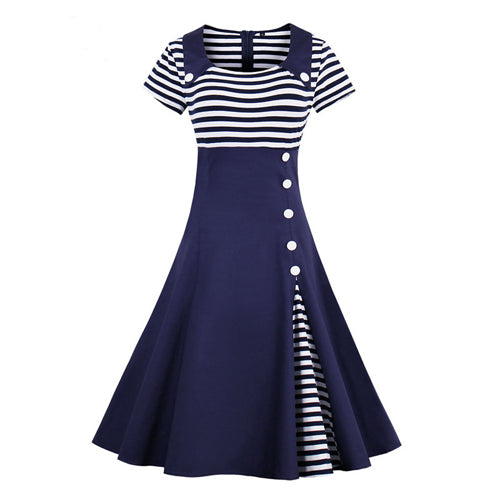 1950s Preppy Style Summer Short Sleeve Striped Print Dress