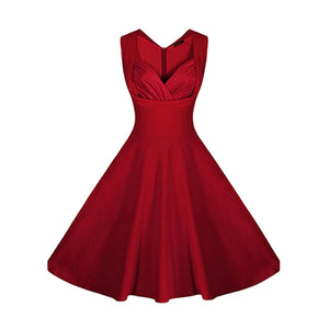 Vintage Style Sleeveless V Neck 1950s Rockabilly Dress