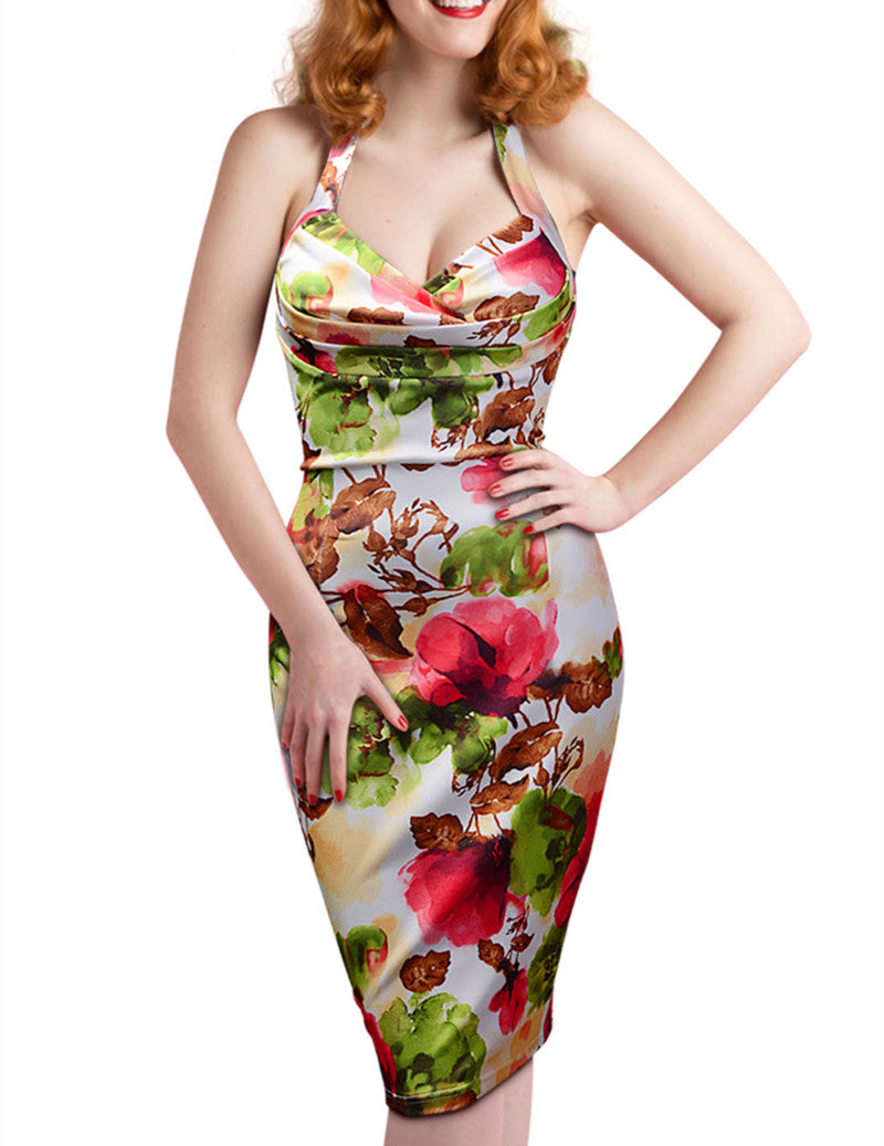 Sleeveless Pin Up V-Neck Pencil Bodycon Dress in Floral Print