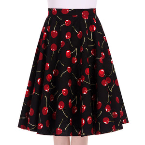 Cherry Print Knee Length Swing Skirt