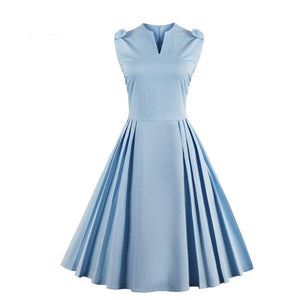 Elegant Light Blue Pleated Dress