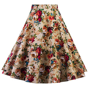 1950s Knee Length Floral Print Ball Gown Midi Skirts