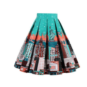 NYC Print Rockabilly Swing Skirt