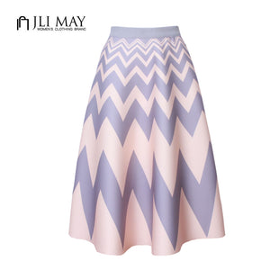 Geometric Wave Pattern Midi Skirt