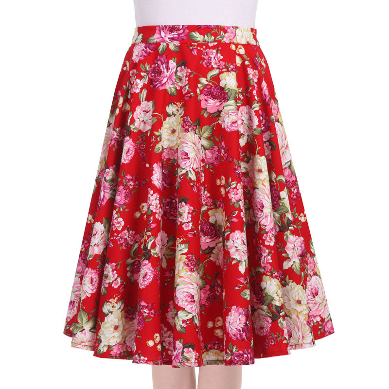 Vintage Floral Swing Midi Ball Gown Skirt