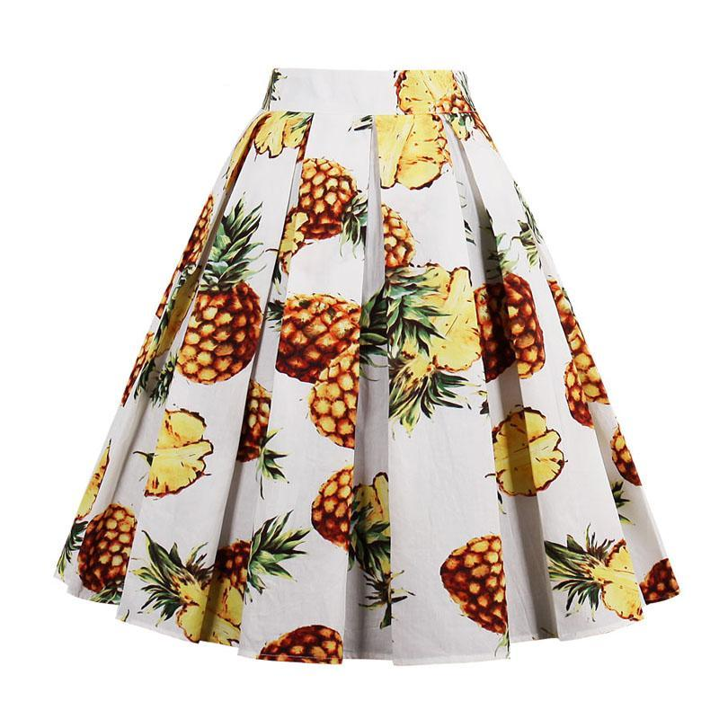 Womens Summer Banana Pineapple Print Midi 50s Rockabilly Swing Dress