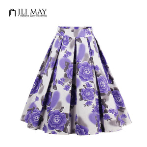 Pink and Lavender Floral Pleated Midi Skirt