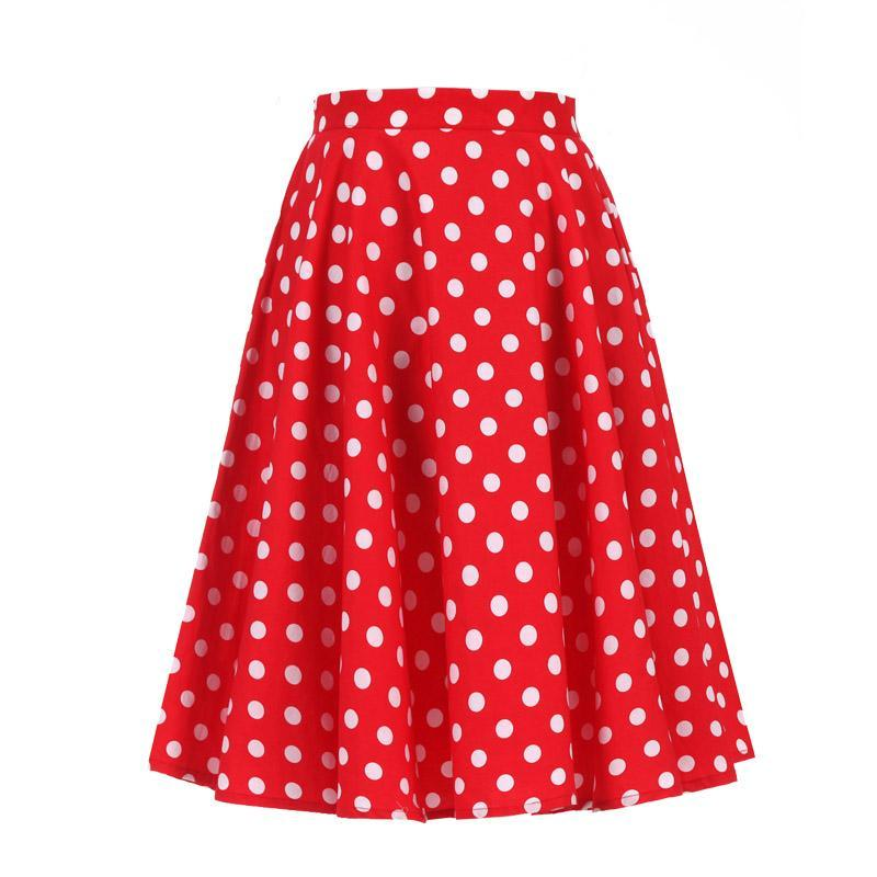 Hepburn Polka Dot Midi Rockabilly Swing Skirt