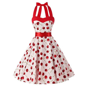 Red Halter Dress in Cherry Print