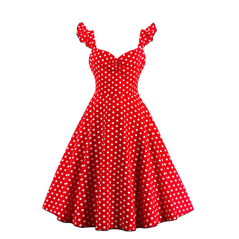 1950s Vintage Polka Dot Ruffles Dress