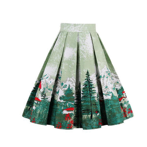 Vintage Green Autumn Casual Skirt