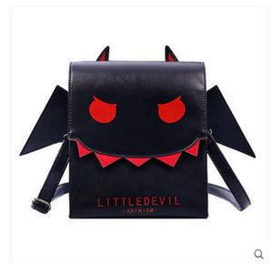 Japan Black Little Devil Bat PU Leather Big Mouth Wing Crossbody Bag Punk Cosplay School Bag Messenger Bag
