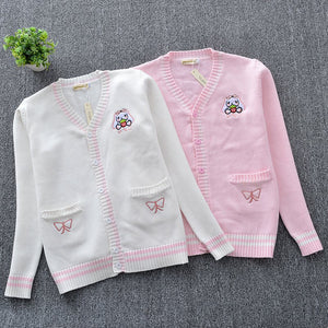 White Pink Cute Embroidery Butterfly Knitted Cardigan