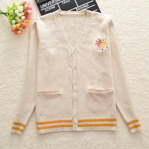 Beige Loose Cute Embroidery Knit Cardigan