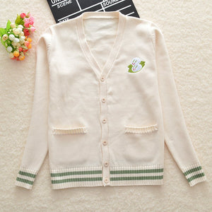 Light Beige Cute Embroidery Rabbit  V-Neck Cardigan