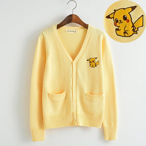 Yellow Pikachu V Neck Cardigan