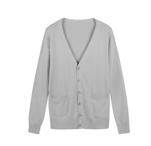 Cute V Neck Long Sleeve Cotton Knit Cardigan
