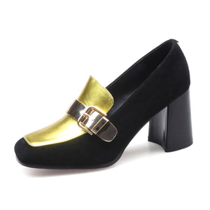Vintage Gold and Black Shoes with Buckle