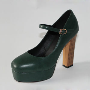 Mary Jane Classic Shoes Vintage Thick High Heels