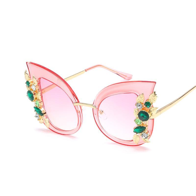 KEHU Metal Frame Cat Eye Diamond personality Women Sunglasses Ladies Fashion Brand Designer Lens Glasses Female k9202