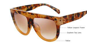 Retro Chic Flat Top Oversized Sun Glasses