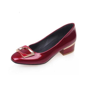 Vintage Square Chunky Heels Spring Autumn Shoes