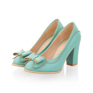 Sweet Bowtie Shoes Vintage Chunky High Heels