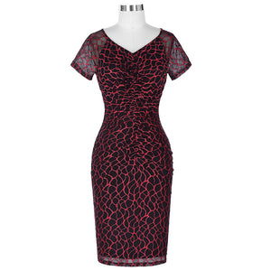 Burgundy Lace Bodycon Pencil Dress
