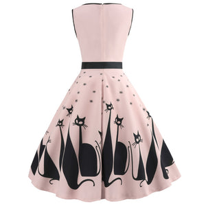 Audrey Hepburn Sexy Cat V Neck Sleeveless Rockabilly Swing Dress