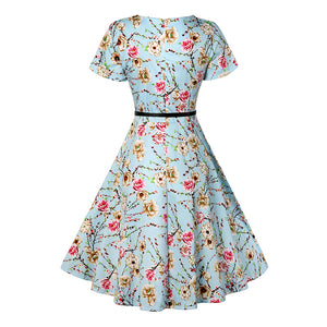 1960s Flower Print Short Sleeve Vintage Dress