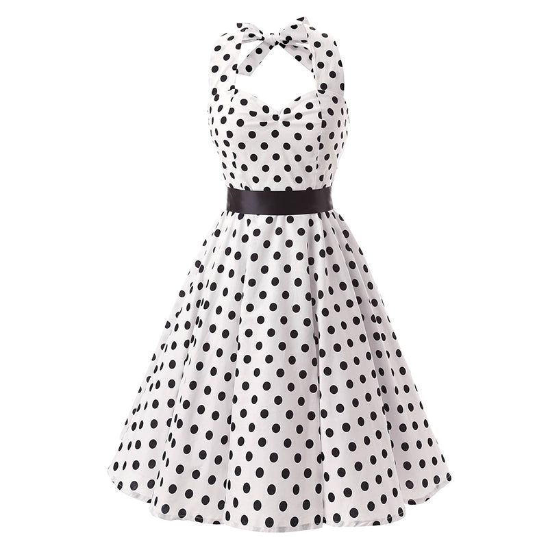 Womens Sleeveless Halter with Pink Polka Dot Sundress