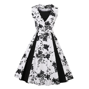 Elegant Floral Print Vintage Dress in Sleeveless