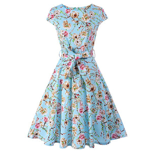 Floral Print Summer Short Sleeve Belt Swing Rockabilly Party Dress with Belt