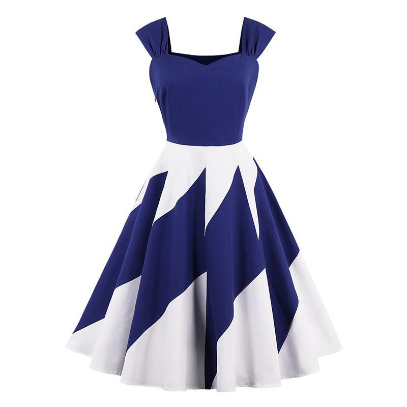 Summer Wave V-Neck Sleeveless  Vintage Rockabilly Dress