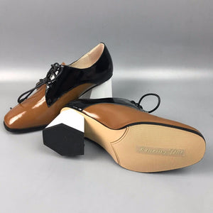 Vintage Full Grain Leather Square High Heel