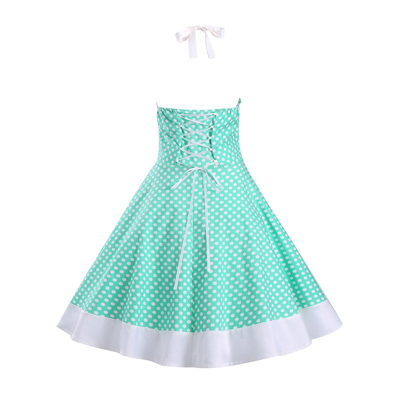 Womens Summer Polka Dot Sleeveless Rockabilly Pinup Vintage Dress
