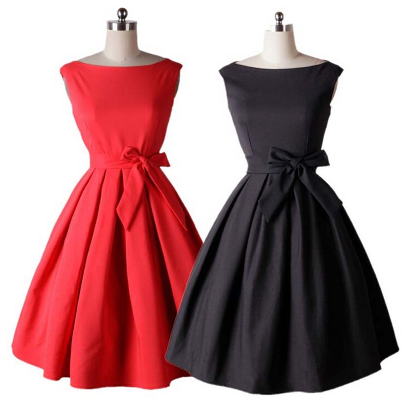 Red and Black Retro Rockabilly Pleated Dress
