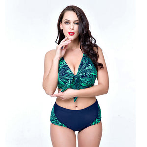 Sexy Plus Size Halter Neck Swimwear