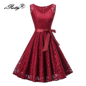 Lace Patchwork Vintage Dress in Sleeveless