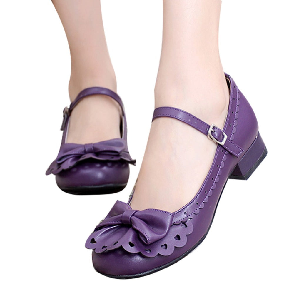 145a082e7e3 Ladies Place Princess Vintage Style Flounce Trim Bowtie Mary Jane Low Heel  Shoes Sweet Lolita Cosplay