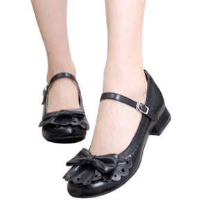 Ladies Place Princess Vintage Style Flounce Trim Bowtie Mary Jane Low Heel Shoes Sweet Lolita Cosplay Shoes