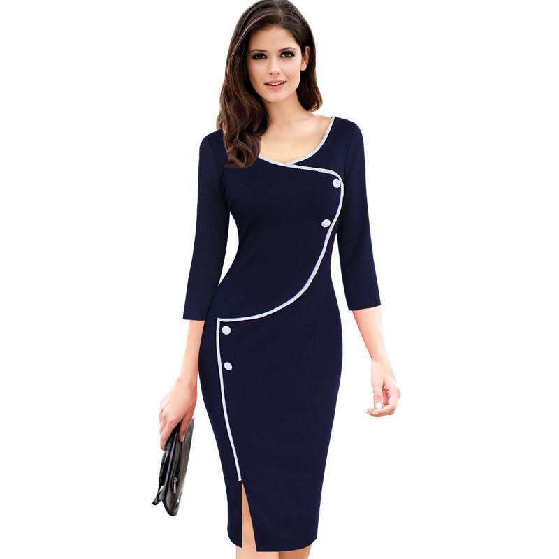 34eb5332d8 Vintage Deep O Neck Bodycon Pencil Sheath Dress